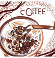 coffee poster with hand drawn coffee mill vector image vector image