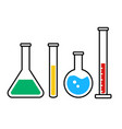 color chemestry beakers and flacks icons vector image