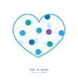 connected dots heart silhouette pattern frame vector image vector image