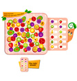 Count the fruit visual game vector image