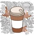 Cute cartoon doodle coffee cup vector image vector image