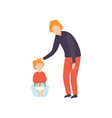 cute little toddler baby sitting on potty parent vector image