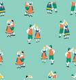 dancing oktoberfest couples seamless vector image