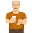 elderly man holding glass of water taking pills vector image