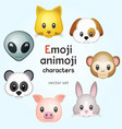 emoji or animoji animal characters vector image