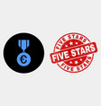 euro medal icon and grunge five stars stamp vector image vector image