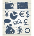Finance doodle set vector image vector image