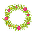 floral circle isolated with grass swirls and red vector image vector image