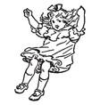 Girl swinging vintage vector image