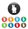 hand hey icons set color vector image vector image
