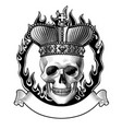 human skull full face in crown fiery ring vector image vector image