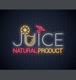 juice logo design background fresh lemon cocktail vector image