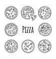 line icons pizza set on white vector image