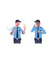 mix race security guard men having coffee break vector image vector image