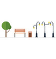 park elements isolated on white background vector image vector image