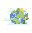 people cleaning earth planet and ocean from vector image vector image