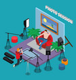 photo session isometric background vector image vector image