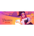 pirates banner with girl captain and treasure vector image