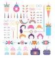 pony unicorn face elements unicorns head vector image