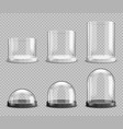 realistic glass domes and cylinders souvenirs set vector image
