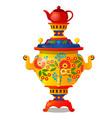 samovar with traditional russian ornament isolated vector image