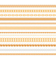 set of gold chains and ropes isolated on white vector image vector image