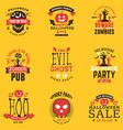 Set of Happy Halloween Badges Stickers Labels vector image vector image