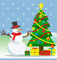 snowman and christmas tree outside with snow vector image vector image