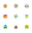 Stay in India icons set pop-art style
