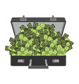 suitcase of money isolated case cash vector image vector image