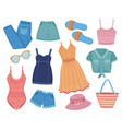 summer apparel fashion clothes woman outfit vector image