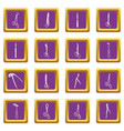 surgeons tools icons set purple square vector image vector image