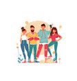 team with young men and women with glasses vector image