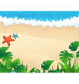 Tropical beach with tropical vegetation vector image vector image