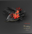 tropical black leaves and exotic red flower vector image vector image