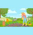 woman watering garden female gardener works vector image