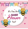 card baby shower bee twins desing vector image