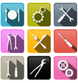Retro Buttons Cogs Gears Screwdriver Pincers vector image