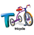 A letter T for tricycle vector image vector image