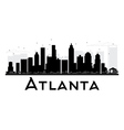 Atlanta City skyline black and white silhouette vector image vector image