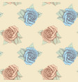 blue and pink roses seamless hand drawn vector image vector image