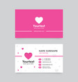 business card template with hearth symbol vector image vector image