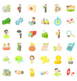 business diagram icons set cartoon style vector image vector image