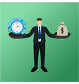 businessman holding balance time process and money vector image vector image