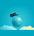 businessman jumping over the moon vector image vector image
