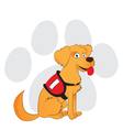 Cartoon service dog sitting on a paw background vector image