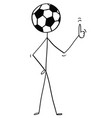 cartoon stick man character with football or vector image vector image
