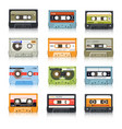 cassette tapes retro audio records vintage media vector image