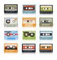 cassette tapes retro audio records vintage media vector image vector image