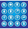 christmas icons in blue circles collection eps10 vector image vector image